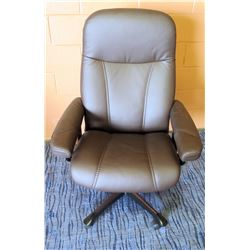 Ekornes Luxury Brown Leather Rolling Office Chair