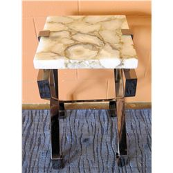 "Century Furniture Side Table w/ Natural Stone-Top , 14"" x 14"" x 26""H (corner chipped)"