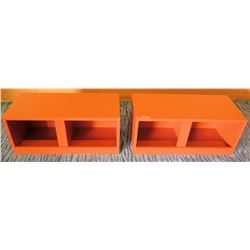 Qty 2 Orange Minimalist Storage Benches, 28.5 L x 13.5 W x 12 H