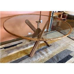 "Modern Round Tripod Wood & Glass Dining Table, 56"" Dia, 31""H"