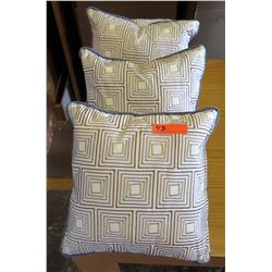 Qty 4 Matching Geometric Patterned Throw Pillows