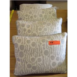 Qty 4 Matching Decorative Throw Pillows (Tan w/ Dots)