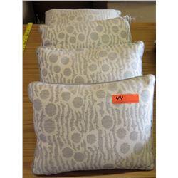 Qty 4 Matching Decorative Throw Pillows (Tan w/ Dots)