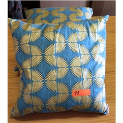 Qty 2 Pacific Home Throw Pillows (Blue/Yellow)