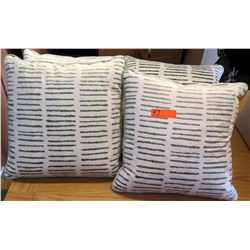 Qty 6 Matching Decorative Throw Pillows (White/Gray)