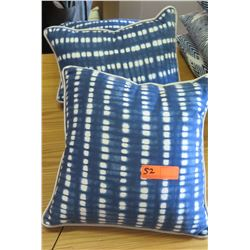 Qty 4 Matching Blue Throw Pillows