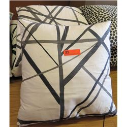 Qty 3 Matching Throw Pillows (Grey Abstract Lines)