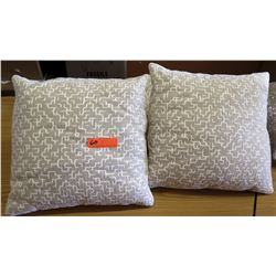 Qty 4 Matching Grey/Tan Throw Pillows