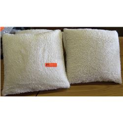 Qty 4 White Faux Fur Throw Pillows