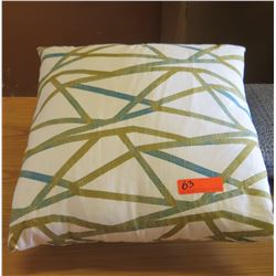 Qty 2 Throw Pillows w/ Green & Blue Abstract Lines