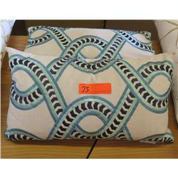Qty 2 Matching White/Blue Accent Pillows