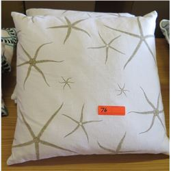 Qty 2 White & Gold Starfish Throw Pillows