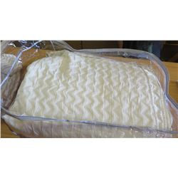 Quilted Beige King Coverlet & 2 King WhitePillowcases (Hudson Park)