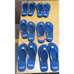 6 Pairs Lauren Ralph Flip Flops/Slippers, Sizes 5-11