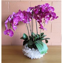 "Large Faux Purple Orchid Plant w/ Clear Quartz Crystal Bowl, 28""H"