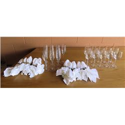 Mikasa Champagne Glasses, Wine Glasses, & Napkins