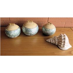 Qty 3 Bamboo & Eggshell Containers & Ceramic Shell