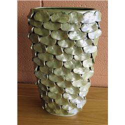 "Large Irridescent Ceramic Vase w/Scale-Pattern Overlay, 16""H ($207 Retail)"