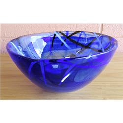 Blue Kosta Boda Luxury Glass Bowl w/Ribbon Pattern