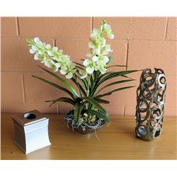 Faux White Orchid Plant, Metal Vase, Facial Tissue Holder