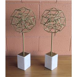 "Qty 2 Metal Geometric Accent Décor on Stone Base, 24""H"