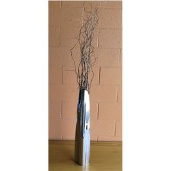 Tall Chrome Vase w/ Decorative Branches