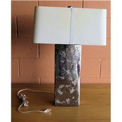 "Mottled Metal Lamp w/ Shade 29.5""H"