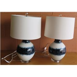 "Pair: Blue/White Glazed Ceramic Lamps w/ Shades 26""H"