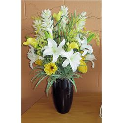 Faux Flower Arrangement w/ Glazed Ceramic Vase