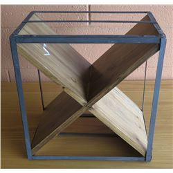 "Wooden X-Based Side Table w/ Metal Frame (No Top), 15.5""L x 10.5""W x 16""H"