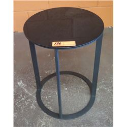 "Black Metal Side Table 14"" Dia, 18.5""H"