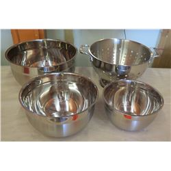 Cuisipro Stainless Steel Mixing Bowls & All-Clad Strainer