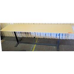 "Long Wooden Table w/ Metal Legs, 94""L x 23.5""W x 29""H"