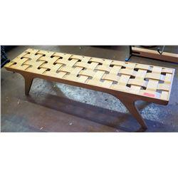 "Long Wooden Bench w/ Woven Top 71""L x 17.5""W x 16.5""H"