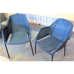 "Qty 2 Cane-Line Woven Outdoor Patio Chairs (24""W arm to arm)"
