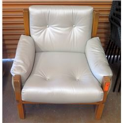 """Lt. Grey Leather Armchair w/ Wood Frame & Leather Accent (seat 32""""W x 17""""H)"""