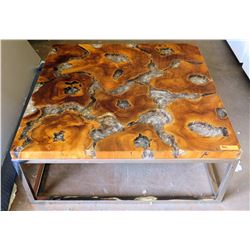 """Square Coffee Table w/ Solid Wood & Resin Top 43"""" x 43"""" x 18""""H"""