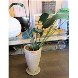 """Faux Plant Leaves w/ Artie Rattan Vase 24"""" H"""