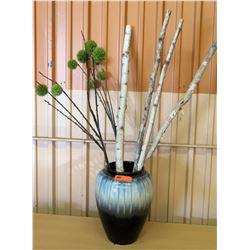 "Wooden Stick Accent Decor w/ Large Glazed Ceramic Vase 16"" H"