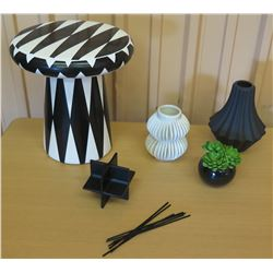 Misc. Black & White Vases, Bosa Abstract Stand, Faux Plant
