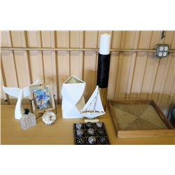 Accent Décor: Whale's Tail, Sailboat, Tray, Picture Frame, Wood Balls, etc.