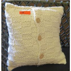 Cream Knit Throw Pillow w/ Buttons