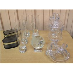 Small Glass Globe, 4 Tall Beverage Glasses, 2 Trinket Boxes, Glass Canisters, etc.