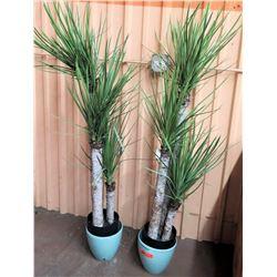 Qty 2 Large Faux Plants w/ Blue Planters