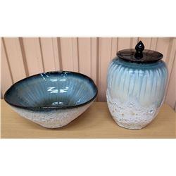"Glazed Ceramic Blue & White Bowl (17"" Dia, 7""H) & Lidded Jar"