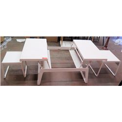 """Extendable Dining Table, Coffee Table, w/ 2 Benches 35.5"""" x 35.5"""" x 16""""H"""