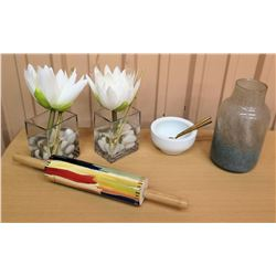 Painted Glass Vase, Painted Ceramic Rolling Pin, White Bowl, Pair Glass Vases