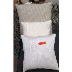 Qty 3 Misc. Grey Throw Pillows
