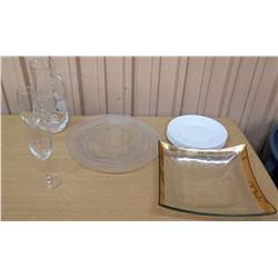 Champagne Glasses, Water Pitcher, Dinner Plates, Glass Bowl