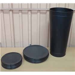 Black Plates w/ Tall Black Metal Canister